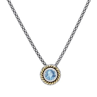 Dolce Giavonna Sterling Silver Blue Topaz Circle Swirl Necklace