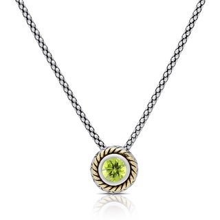 Dolce Giavonna Sterling Silver Peridot Circle Swirl Necklace