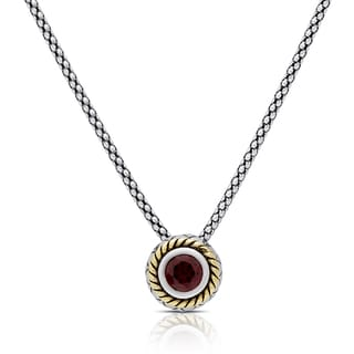 Dolce Giavonna Sterling Silver Garnet Circle Swirl Necklace