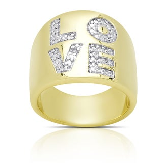 Finesque Gold Overlay Diamond Accent 'LOVE' Ring (I-J, I2-I3)