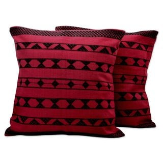 Set of 2 Handcrafted Cotton 'Crimson Geometric' Cushion Covers (India)