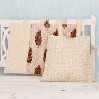 Set of 3 Handcrafted Cotton 'Jaipuri Morning' Shopping Bags (India)