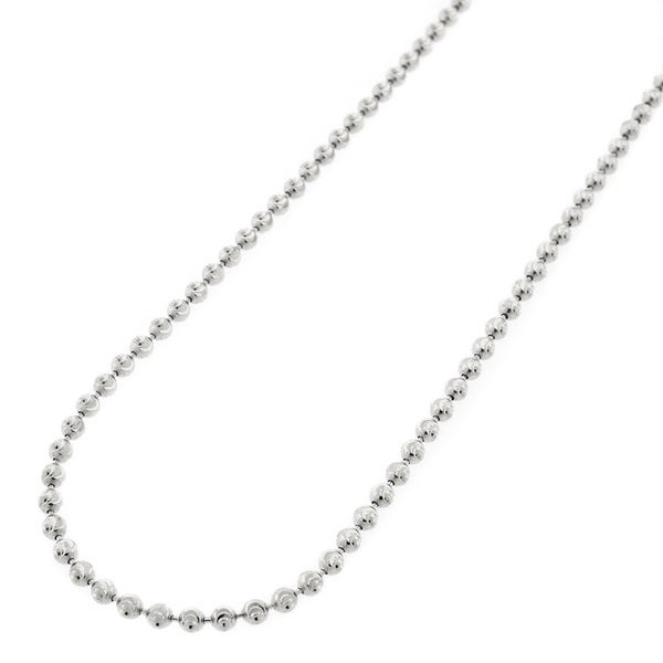 Sterling Silver 2-millimeter Moon-cut Bead Necklace
