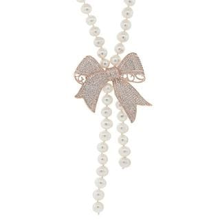 18k White Goldplated Freshwater Pearl Ribbon Pave Charm Neacklace
