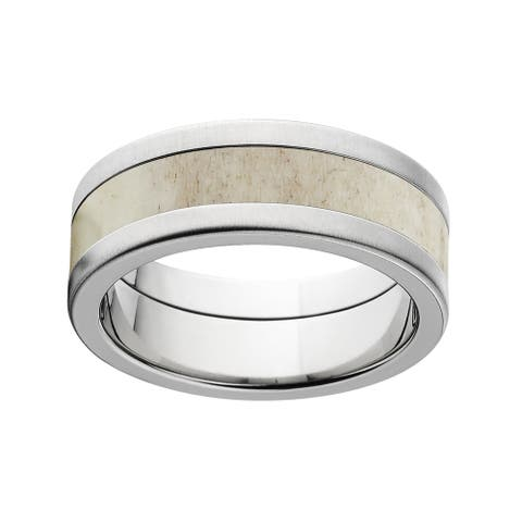 Men's Flat 8mm Titanium Deer Antler Wedding Ring Engagement Band