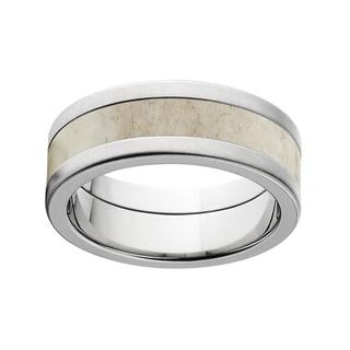 Flat 8 Millimeter Titanium Deer Antler Ring