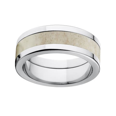 Men's Titanium Deer Antler Wedding Ring Engagement Band
