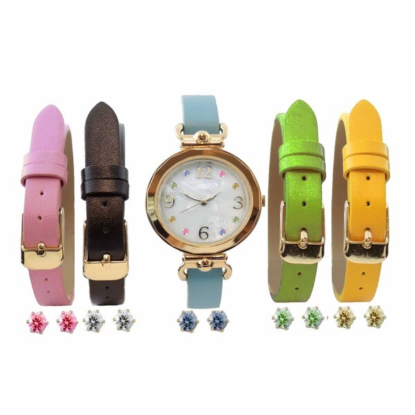 Women's 10-piece Interchangeable Watch Set, with Multi Color MOP Dial Watch, and Cubic Zirconia Earrings