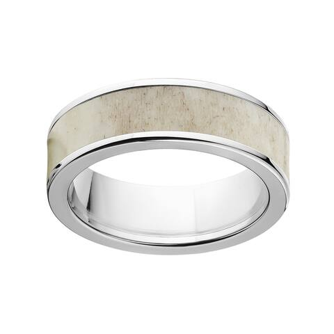 Men's Two-tone Titanium 7mm Flat Antler Wedding Ring Engagement Band