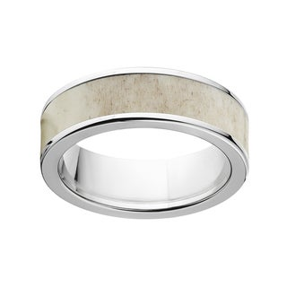 Men's Two-tone Titanium 7-millimeter Flat Antler Ring