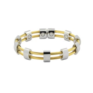Magnetic Stainless Steel Silver and Gold Cuff Wire Bracelet
