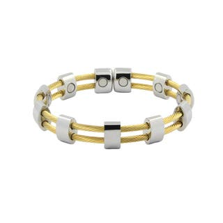 Magnetic Stainless Steel Silver and Gold Cuff Wire Bracelet|https://ak1.ostkcdn.com/images/products/12288543/P19118252.jpg?impolicy=medium