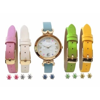Women's 10-piece Interchangeable Multi Color MOP Dial Watch and Cubic Zirconia Earring Set