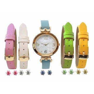 Women's 10-piece Interchangeable Watch Set, with Clear Color MOP Dial Watch, and Cubic Zirconia Earrings