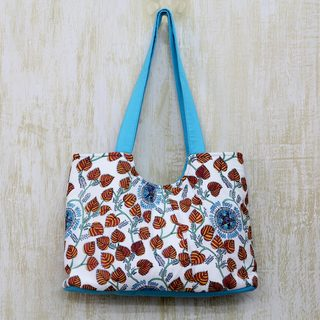 Handcrafted Cotton 'Foliage and Stars' Tote Handbag (India)