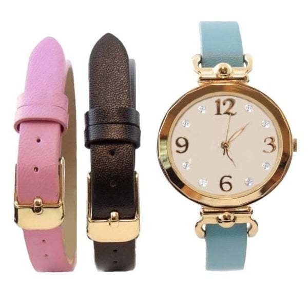 Womens 3-piece Interchangeable Watch Set with Crystal Markers, and Black, Pink, and Blue Faux Leather Bands
