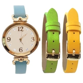 Women's 3-piece Interchangeable Clear Color Real MOP Dial Watch Set, with Blue, Green, and Yellow Straps