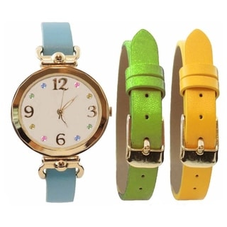 Women's 3-piece Interchangeable Multi Color Real MOP Dial Blue Green Yellow Watch Set
