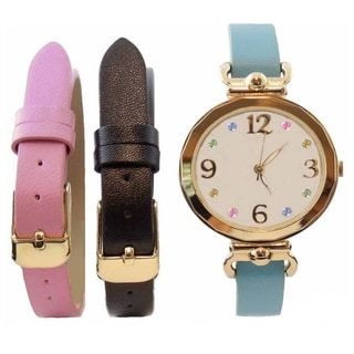 Women's Interchangeable Real MOP Dial Watch with Blue, Pink, and Black 3-piece Multicolor Watch Band Set