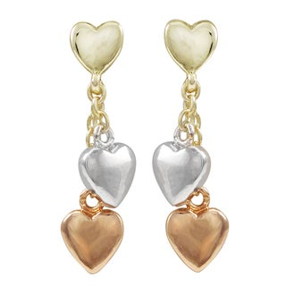 Luxiro Tri-color Gold Finish Heart Children's Dangle Earrings