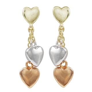 Luxiro Tri-color Gold Finish Heart Children's Dangle Earrings