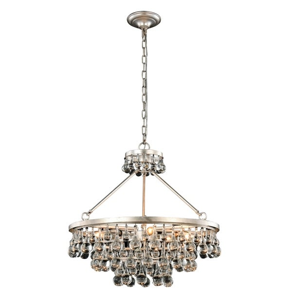 Somette Monessen Collection Silver Leaf Royal Cut Pendant Lamp