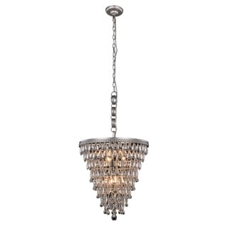 Somette Cloverly Collection Antique Silver Royal Cut Pendant Lamp