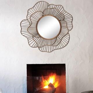 'Memoris' Copper-finish Metal Round Framed Wall Mirror