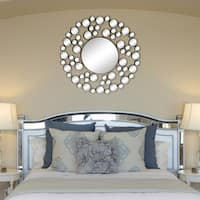 'Allurre' Framed Round Wall Mirror - Satin Nickel