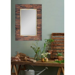 Fallon and Rose Leeway Brown Wood Rectangular Framed Wall Mirror