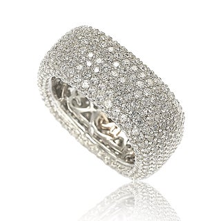 Suzy Levian Sterling Silver Cubic Zirconia Square Pave Eternity Ring