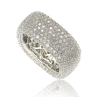 Suzy Levian Sterling Silver Cubic Zirconia Square Pave Eternity Ring (Option: 7.5)|https://ak1.ostkcdn.com/images/products/12297239/P19133529.jpg?impolicy=medium