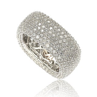 Suzy Levian Sterling Silver Cubic Zirconia Square Pave Eternity Ring (More options available)