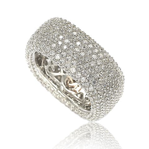 Suzy L. Sterling Silver Cubic Zirconia Square Pave Eternity Ring