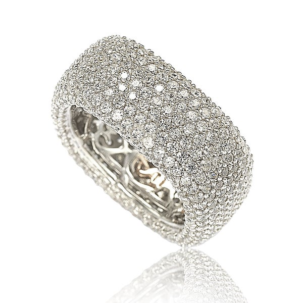 Suzy Levian Sterling Silver Cubic Zirconia Square Pave
