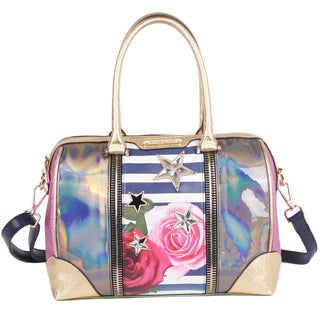 Nicole Lee Ashton Rose Stripe Print Boston Handbag
