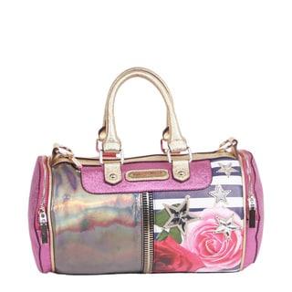 Nicole Lee Ashton Rose Print Small Barrel Handbag