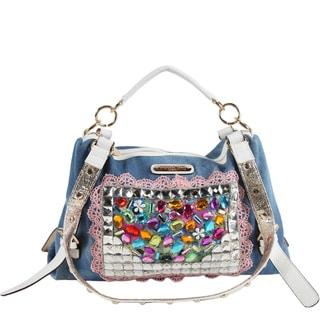 Nicole Lee Clover Multicolored Denim Rhinestone Shoulder Handbag