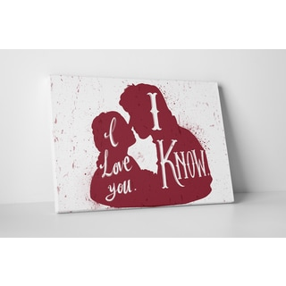 Jackie Star Wars Quotes 'Leia & Han Solo' Gallery Wrapped Canvas Wall Art