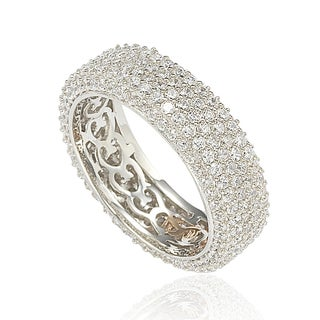 Suzy Levian Cubic Zirconia Sterling Silver Eternity Pave Ring