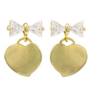 Luxiro Gold Finish Cubic Zirconia Bow Heart Children's Dangle Earrings - White