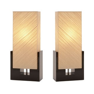 Urban Designs Sofia Black Wood Table Lamps (Set of 2)