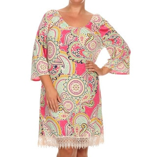Women's Paisley Polyester/Spandex Plus Size Crochet Lace Dress