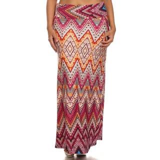 Women's Multicolor Chevron Maxi Skirt