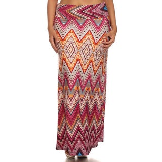 Women's Multicolor Chevron Maxi Skirt
