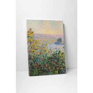 Classic Masters Claude Monet 'Flower Bed at Vetheuil' Gallery-wrapped Canvas Wall Art