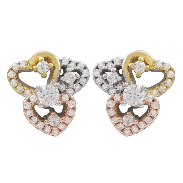 349b7b957 Luxiro Tri-color Gold Finish Cubic Zirconia Hearts Children's Earrings