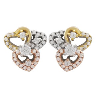 Luxiro Tri-color Gold Finish Cubic Zirconia Hearts Children's Earrings
