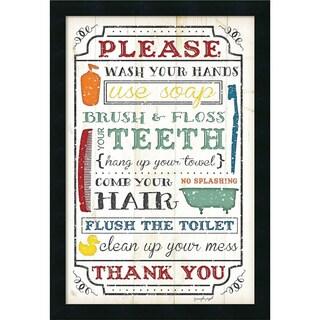 Framed Art Print 'Bathroom Rules' by Jennifer Pugh 18 x 26-inch