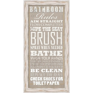 Framed Art Print 'Bathroom Rules' by Jim Baldwin 17 x 33-inch